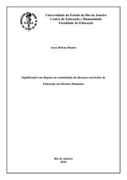 Universidade do Estado do Rio de Janeiro Centro de Educação e