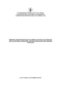Proposta de Reestruturação Curricular CEFD UFSM