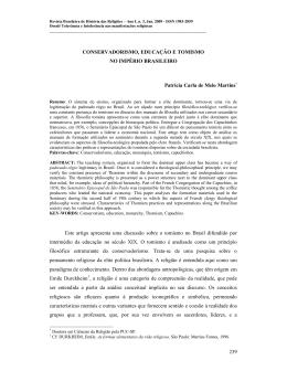 Conservadorismo, Educação e Tomismo no Império brasileiro