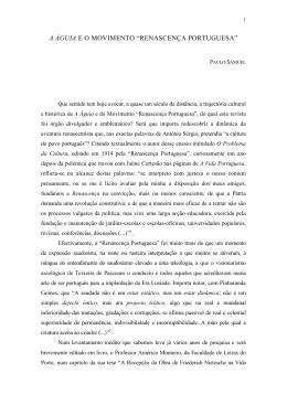 """a águia e o movimento """"renascença portuguesa"""""""