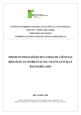 PROJETO PEDAGÓGIO DO CURSO DE CIÊNCIAS BIOLÓGICAS