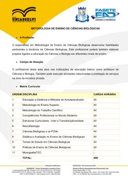 METODOLOGIA DE ENSINO DE CIÊNCIAS BIOLÓGICAS • A