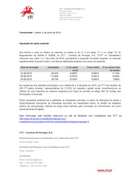 Aquisição de ações próprias 4 de junho, 2015