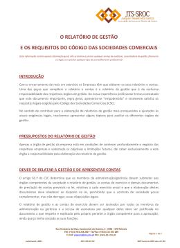 O RELATÓRIO DE GESTÃO E OS REQUISITOS DO - JTS-SROC