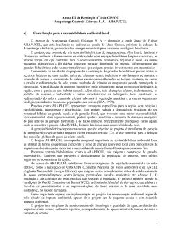 Anexo III da Resolução no 1 da CIMGC Araputanga Centrais