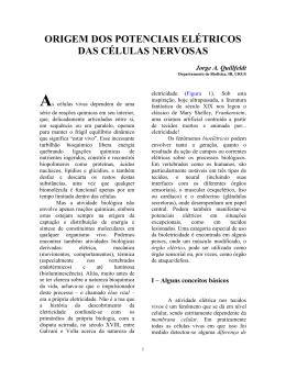 origem dos potenciais elétricos das células nervosas
