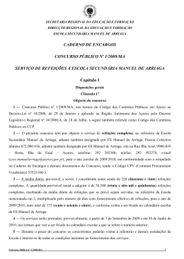 CADERNO DE ENCARGOS CONCURSO PÚBLICO Nº 1/2009/MA