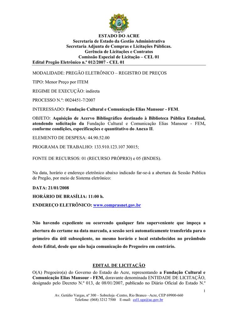 ESTADO DO ACRE Secretaria de Estado da Gestão Administrativa 22e719fd1c