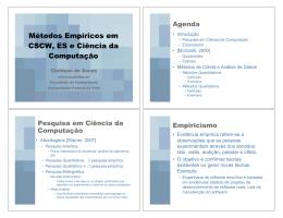 Métodos Empíricos em CSCW, ES e Ciência da Computação