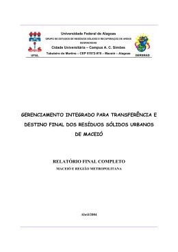 Relatório Final - Aterro Sanitário Maceió