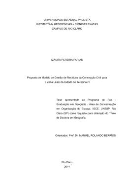 Proposta de modelo de gestão de resíduos da construção civil para