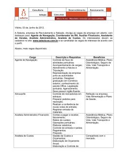 Vitória, 03 de Junho de 2012. A Selecta, empresa