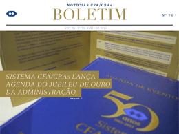 SISTEMA CFA/CRAS LANÇA AGENDA DO JUBILEU DE OURO DA