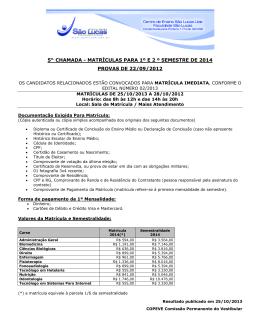 5ª Chamada Vestibular 2014.1 e 2014.2