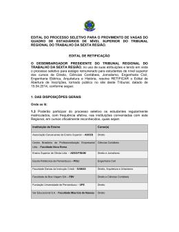 retificação - Tribunal Regional do Trabalho da 6ª Região