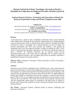 Sistema Nacional de Ciência, Tecnologia e Inovação no Brasil: o