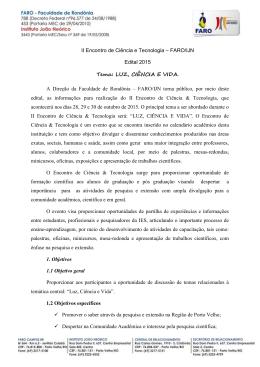 II Encontro de Ciência e Tecnologia – FARO/IJN Edital 2015 Tema
