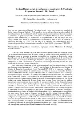 Desigualdades sociais e escolares nos municípios de Maringá