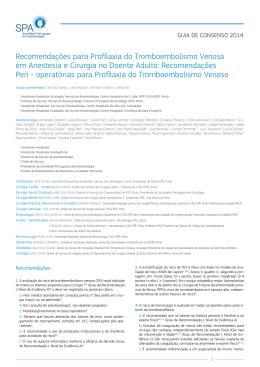 Recomendações para Profilaxia do Tromboembolismo Venoso em