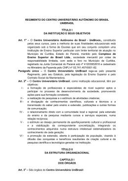 REGIMENTO DO CENTRO UNIVERSITÁRIO