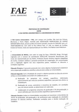 Protocolo de cooperação entre a FAE Centro Universitário e a