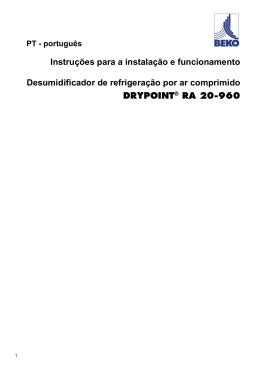 Instruções para a instalação e funcionamento Desumidificador de