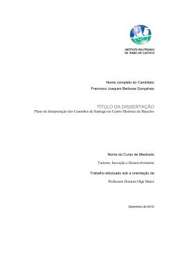 TÍTULO DA DISSERTAÇÃO - Repositorio Cientifico IPVC