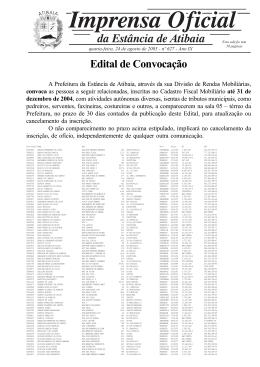 Edital de Convocação - Prefeitura de Atibaia