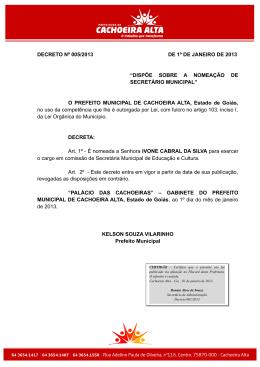 decreto n 005-2013 ivone cabral da silva