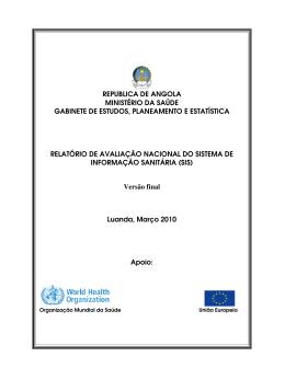 REPUBLICA DE ANGOLA MINISTÉRIO DA SAÚDE GABINETE DE