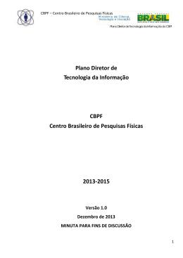 Plano Diretor de Tecnologia da Informação CBPF Centro Brasileiro