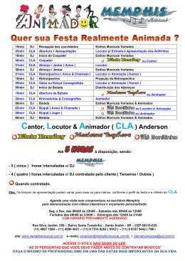 Cantor, Locutor & Animador ( CLA) Anderson