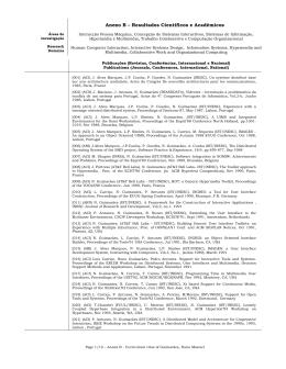 Anexo B – Resultados Científicos e Académicos