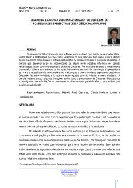 descartes e a ciência moderna - Ágora Revista Eletrônica