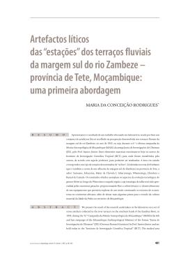 """Artefactos líticos das """"estações"""" dos terraços fluviais da margem sul"""