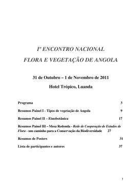 Iº ENCONTRO NACIONAL FLORA E VEGETAÇÃO DE ANGOLA