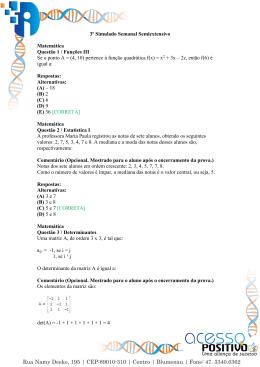 3º Simulado Semanal Semiextensivo Matemática Questão 1