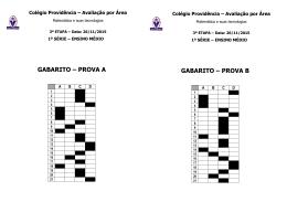 GABARITO AVALIAÇÃO AREA MATEMATICA primeira série