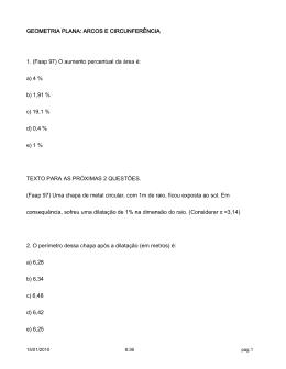 GEOMETRIA PLANA: ARCOS E CIRCUNFERÊNCIA 1. (Faap 97) O