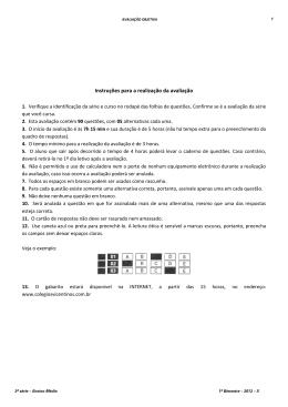 Instruções para a realização da avaliação