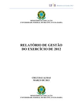 RELATÓRIO DE GESTÃO DO EXERCÍCIO DE 2012