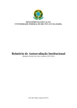 Relatório Parcial I do Ciclo Avaliativo 2012-2014