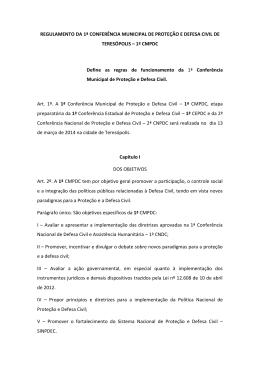regulamento da 1ª conferência municipal de proteção e defesa civil