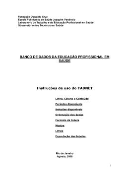 Instrutivo TABNET - Escola Politécnica de Saúde Joaquim Venâncio