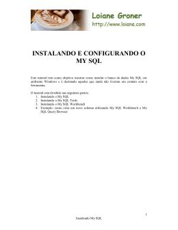 INSTALANDO E CONFIGURANDO O MY SQL