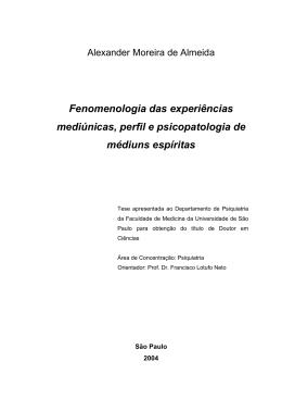 Fenomenologia das experiências mediúnicas, perfil e - AME