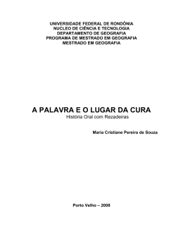 A PALAVRA E O LUGAR DA CURA - Maria Cristiane Pereira de