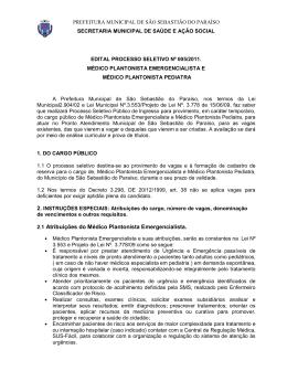 2.1 Atribuições do Médico Plantonista Emergencialista.