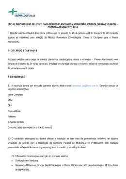 EDITAL DO PROCESSO SELETIVO PARA MÉDICO PLANTONISTA