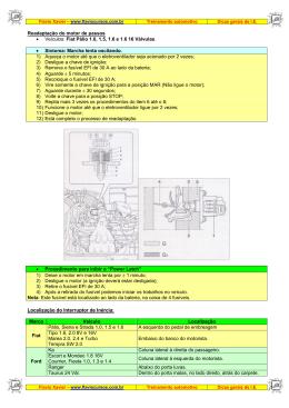 Readaptação do motor de passos • Veículos: Fiat Pálio 1.0, 1.5, 1.6